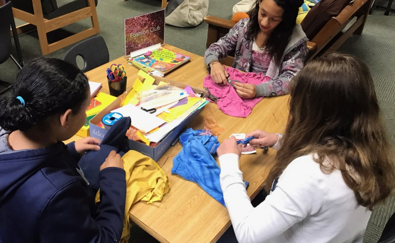 Flat Rock students creating items at Fashion Club