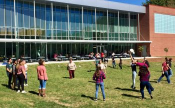 Students play outside
