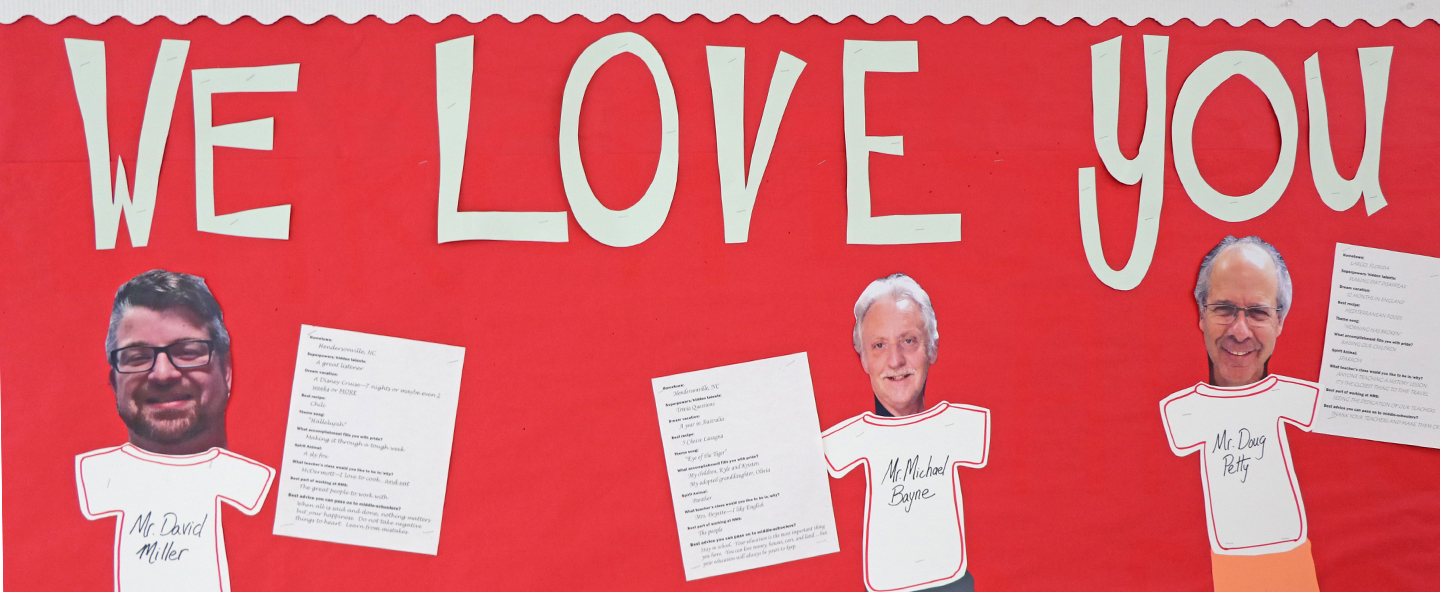 Bulletin board with custodian pictures