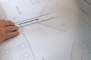 ruler and blueprint