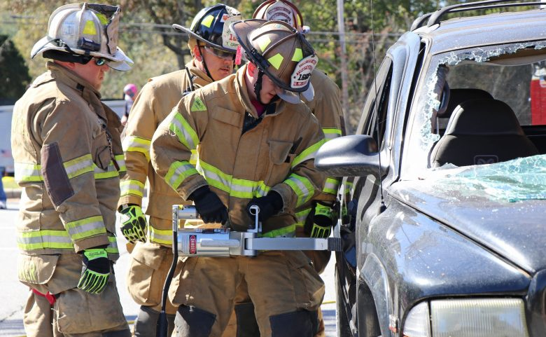 Firefighters demonstrate car extraction