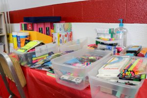 School supply donations collected.