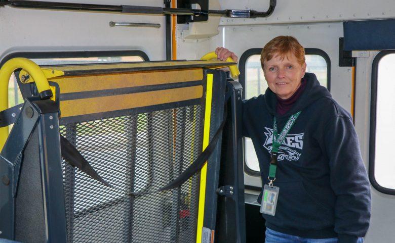 Delwin Hyder in her school bus