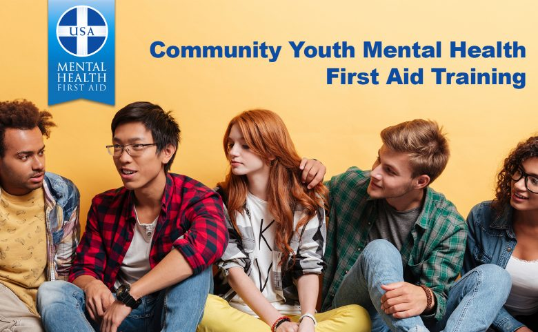 "5 young adults with ""Community Youth Mental Health First Aid Training"" text"