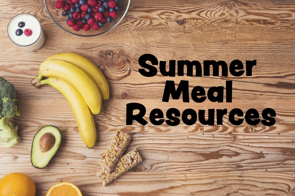 """Healthy food composition background with """"summer meal resources"""" text"""