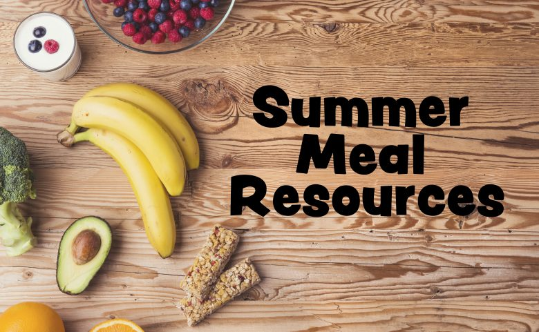 "Healthy food composition background with ""summer meal resources"" text"
