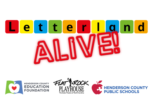 logos for Letterland Alive!, Henderson County Education Foundation, Flat Rock Playhouse, and HCPS