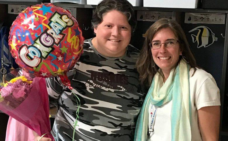 Becca Martin and Jennifer Shelton with balloon