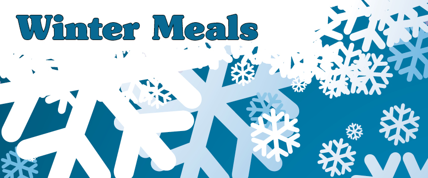 """snow background with """"winter meals"""""""
