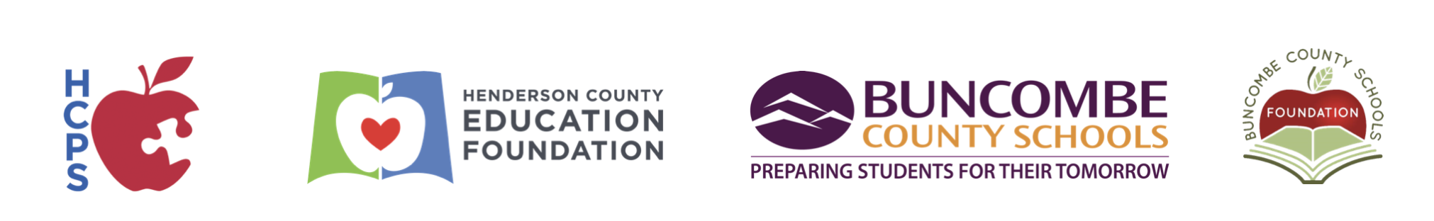 Logos for HCPS, Henderson County Education Foundation, Buncombe County Schools, and BCS Foundation