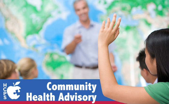 """Community Health Advisory"" text with student raising hand"
