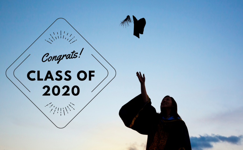 "graduate throwing cap with ""Congrats! Class of 2020"" text"