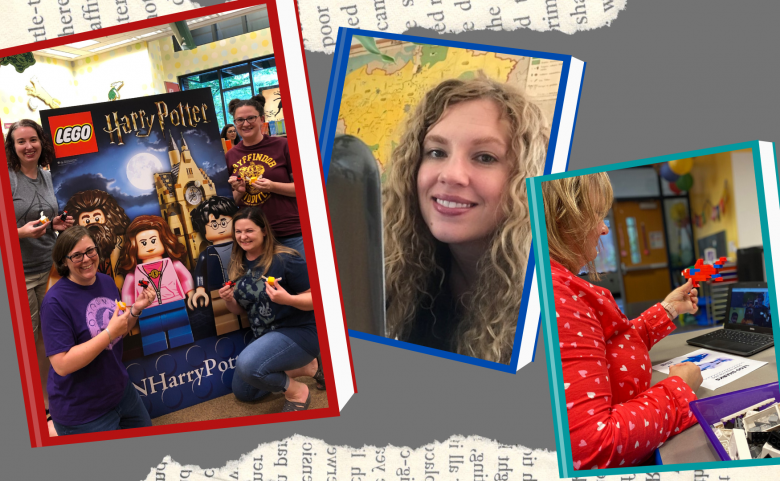 collage of media specialists in book-style frames