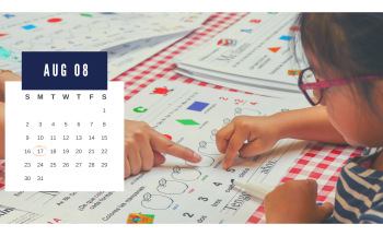 graphic of girl pointing to worksheet and calendar on top