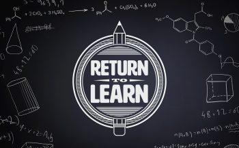 """return to learn"" graphic against blackboard"