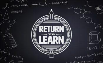 """return to learn"" graphic against blackboard"