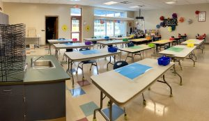 art classroom with desks spaced out
