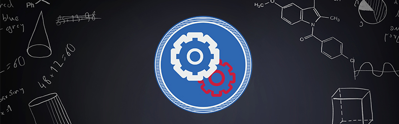 gears graphic on blackboard background