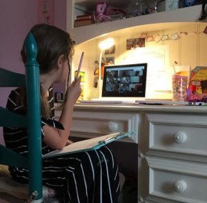 elementary student at home desk on computer