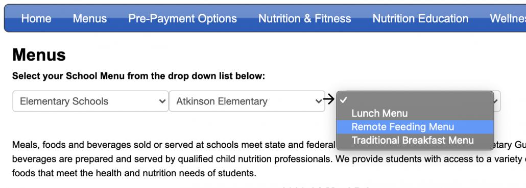 screenshot of website of school lunch menu options with drop down menus highlighted