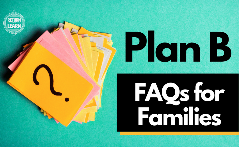 "Graphic with question mark on index card and text ""Plan B FAQs for Families"""