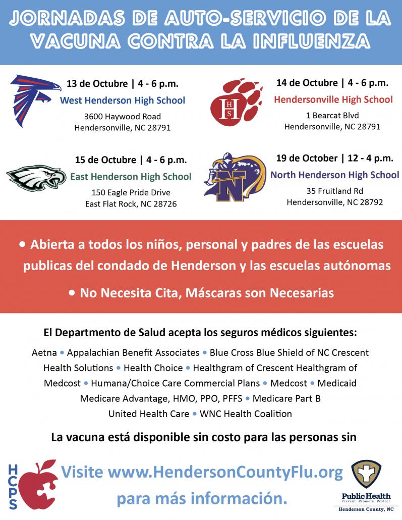 screenshot of flu clinic flyer
