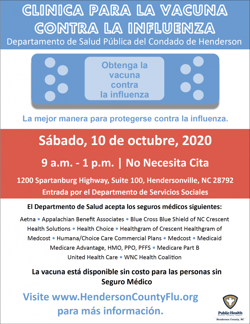 "graphic with text ""clinica para la vacuna contra la influenza"" with clinic details"