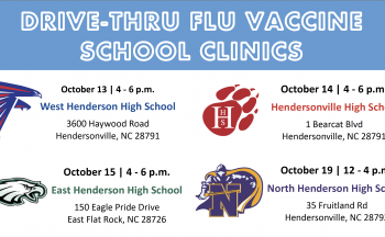 Drive Thru Flu Vaccine School Clinics with logos and details of clinics