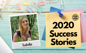 "graphic of polaroid on desk with handwritten text ""Isabella"" and ""2020 Success Stories"""