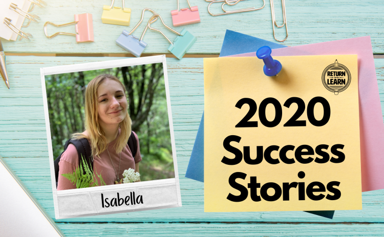 """graphic of polaroid on desk with handwritten text """"Isabella"""" and """"2020 Success Stories"""""""