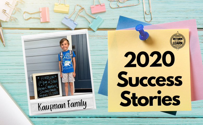 """graphic of polaroid on desk with handwritten text """"Kaufman Family"""" and """"2020 Success Stories"""""""
