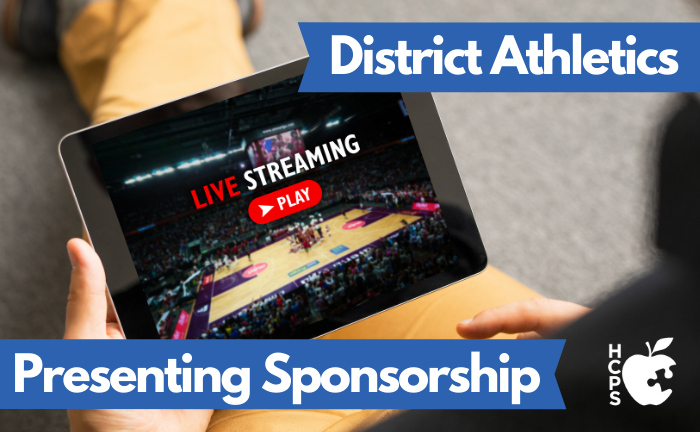 "graphic of sports streaming on iPad with text ""District Athletics Presenting Sponsorship"""