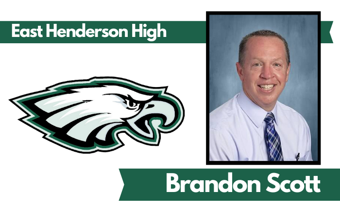 "image of man with East Henderson High eagle logo and text ""East Henderson High"" and ""Brandon Scott"""