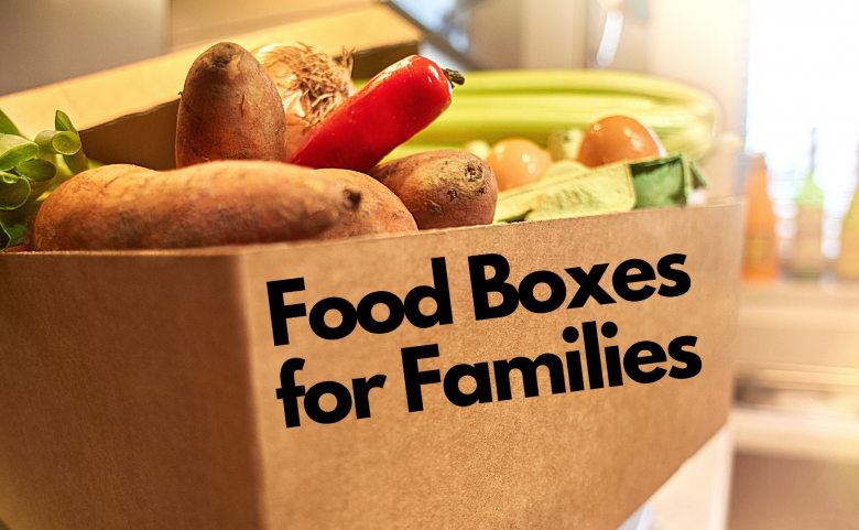 """graphic of box of food with text """"food boxes for families"""""""