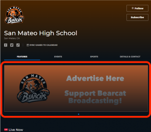 screenshot of carousel ad placement on NFHS Network school channel