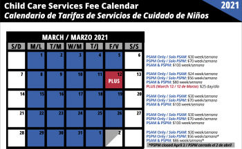 calendar graphic illustrating weekly breakdowns for Child Care costs