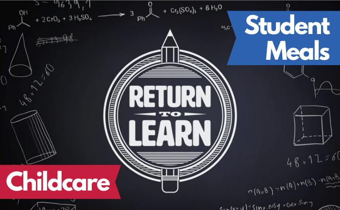"Graphic with ""Return to Learn"" logo and text ""Student Meals"" and ""Childcare"""