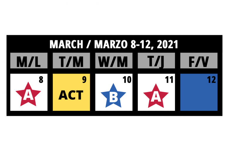 Calendar graphic of March 8-12 showing the ACT date on March 9