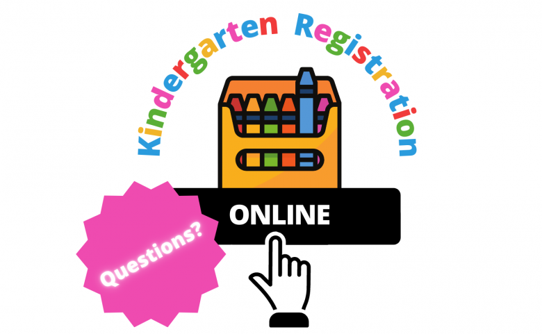 """Graphic of crayons and hand pressing """"online"""" button with text """"Kindergarten Registration"""" and """"Questions?"""""""