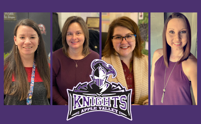 """pictures of four women with Apple Valley Middle """"Knights"""" logo"""