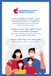 example of sign listing 3 guidelines for attending outdoor athletic events, with image of 4 family members wearing masks