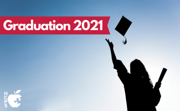 "graduate throwing cap in air with text ""Graduation 2021"""