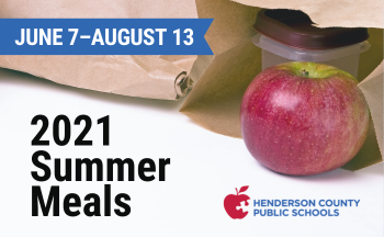 """apple and brown lunch bag with text """"2021 summer meals. June 7-August 13"""""""