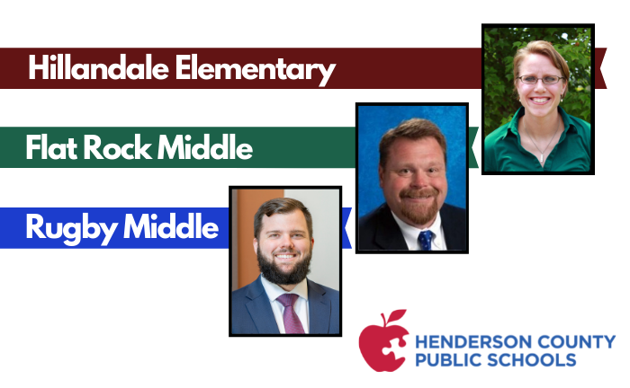 "headshots of 3 principals with text ""Hillandale Elementary, Flat Rock Middle, Rugby Middle"""