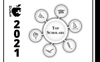 """graphic with Top Scholars and HCPS logo and """"2021"""""""