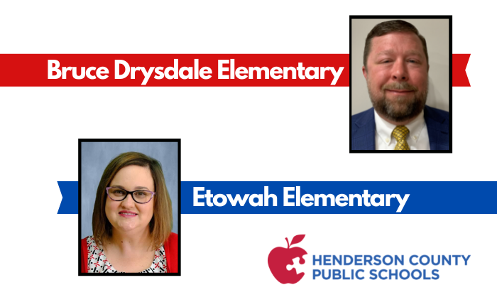 """headshots of 2 principals with text """"Bruce Drysdale Elementary"""" and """"Etowah Elementary"""""""