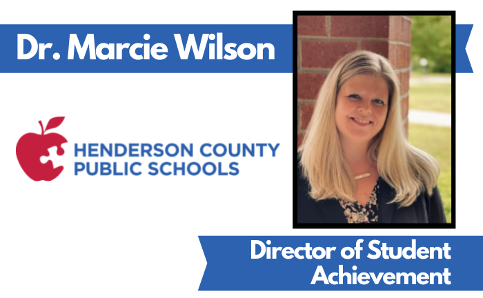 """graphic of woman's photo and text """"Dr. Marcie Wilson, Director of Student Achievement"""""""