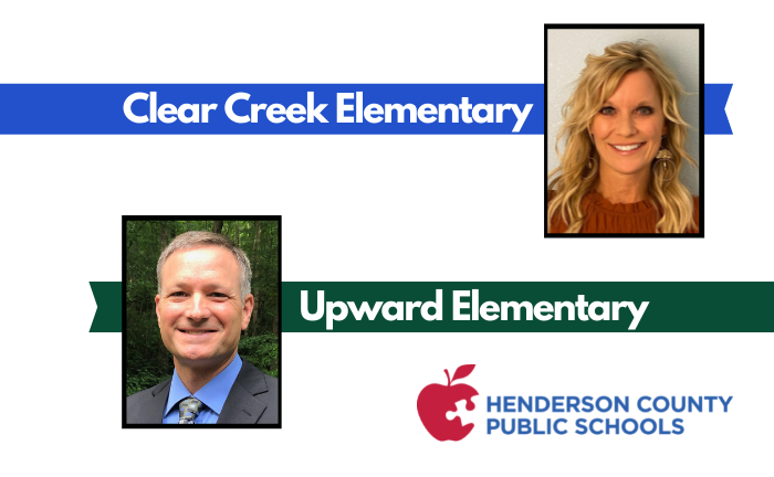 """headshots of man and woman with text """"Clear Creek Elementary"""" and """"Upward Elementary"""""""