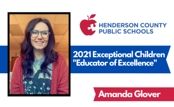 """graphic of woman with text """"2021 Exceptional Children Educator of Excellence Amanda Glover"""""""